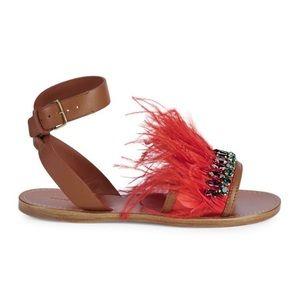 Miu Miu Feather & Crystal Embellished Flat Sandals
